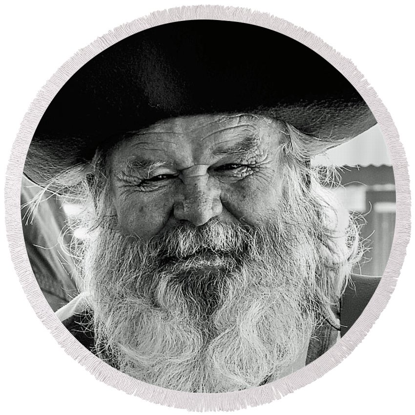 The Old Prospector Of Tomstone Round Beach Towel For Sale By Jim