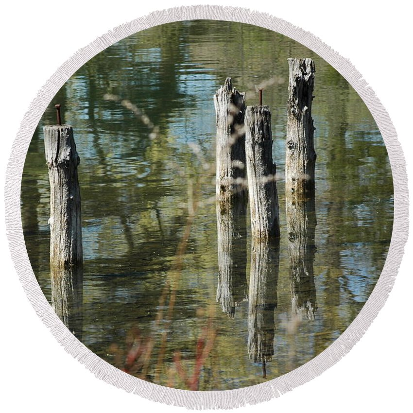 Landscapes Round Beach Towel featuring the photograph The Old Swimming Hole by LeeAnn McLaneGoetz McLaneGoetzStudioLLCcom