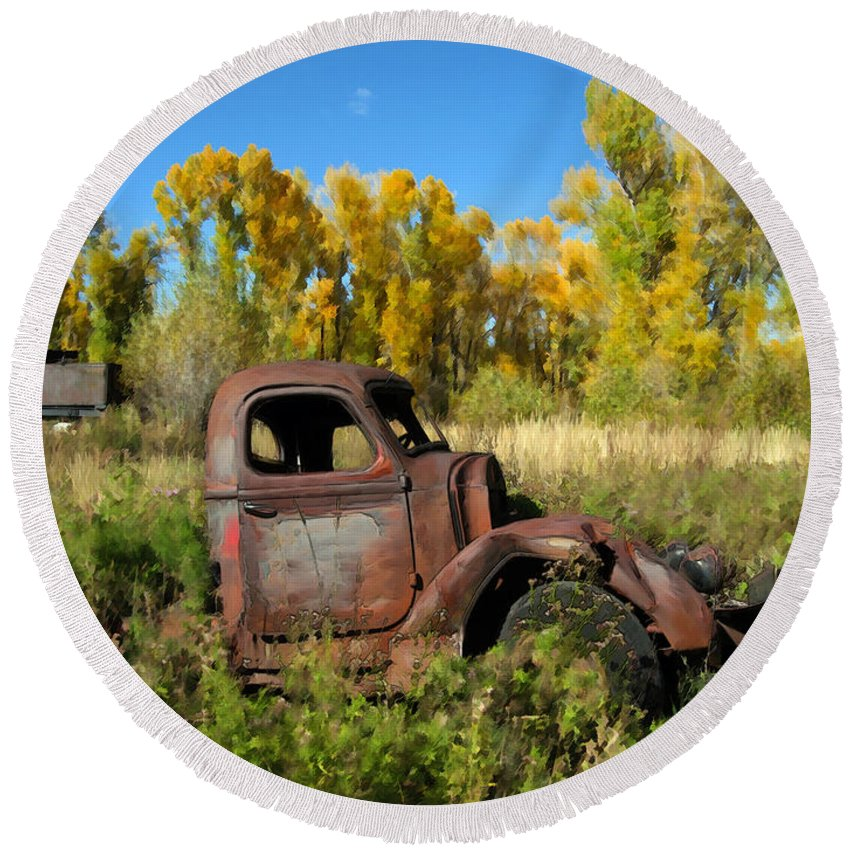 Truck Round Beach Towel featuring the photograph The Old Truck Chama New Mexico by Kurt Van Wagner