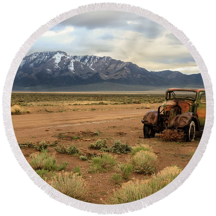 Transportation Round Beach Towel featuring the photograph The Old Truck by Robert Bales