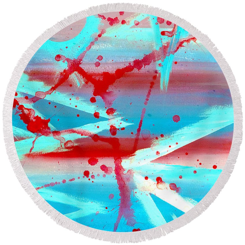 Abstract Round Beach Towel featuring the painting The Olympiad by Bruce Stanfield