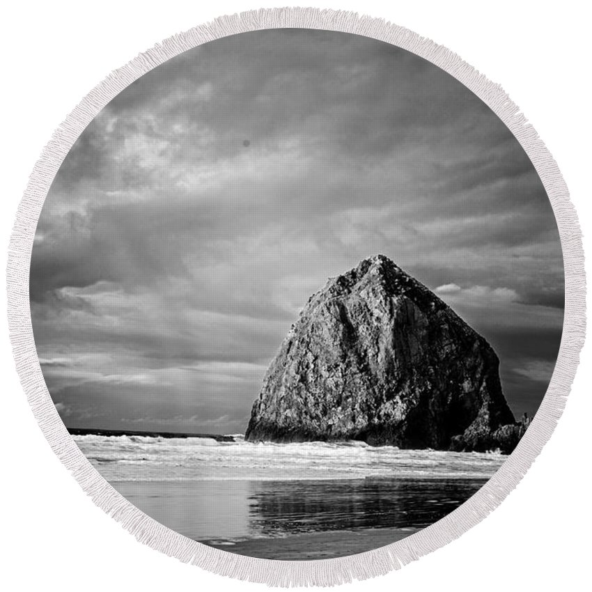 Haystack Rock Round Beach Towel featuring the photograph The Ominous Haystack Rock by Tina Wentworth