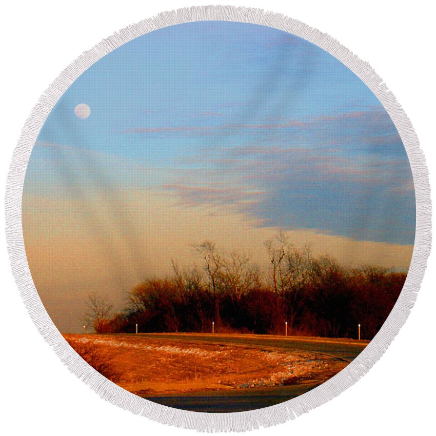 Landscape Round Beach Towel featuring the photograph The On Ramp by Steve Karol