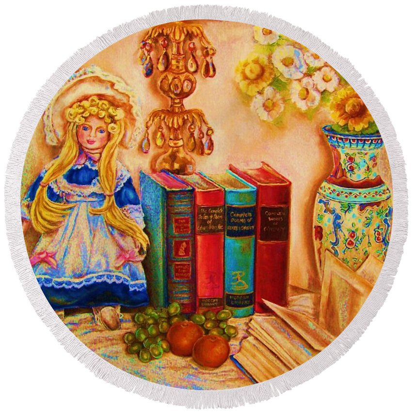 The Bible Round Beach Towel featuring the painting The Open Book by Carole Spandau