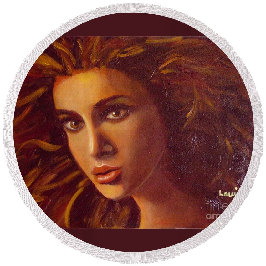 Portrait Round Beach Towel featuring the painting The Oracle by Laurie Morgan