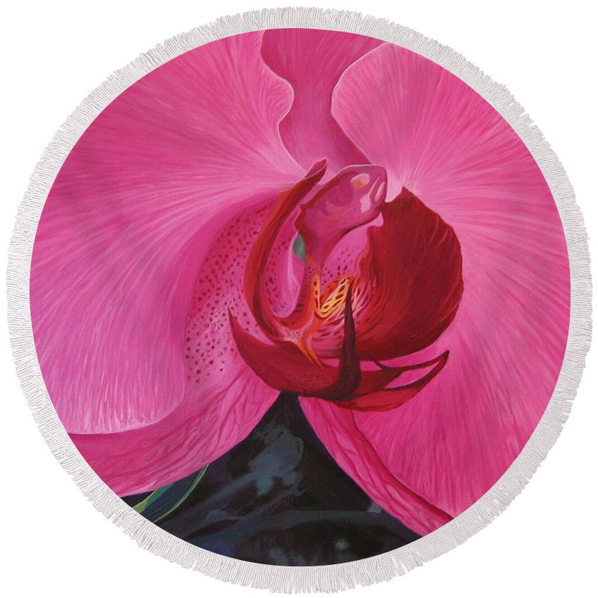 Orchid Round Beach Towel featuring the painting The Orchid in San Juan by Hunter Jay