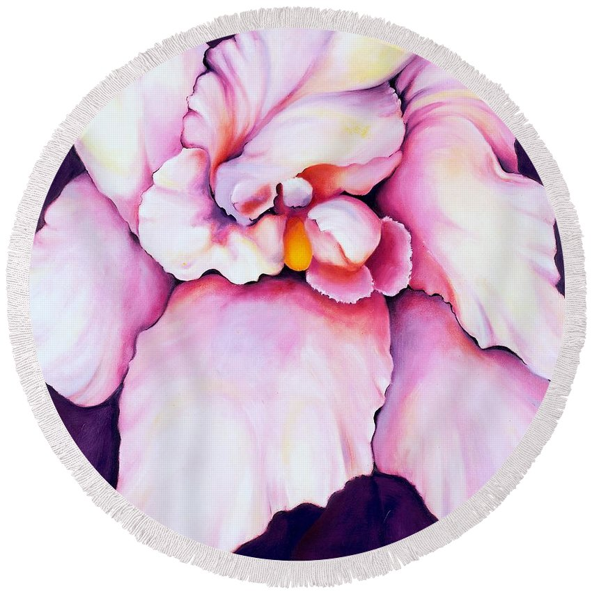 Orcdhid Bloom Artwork Round Beach Towel featuring the painting The Orchid by Jordana Sands
