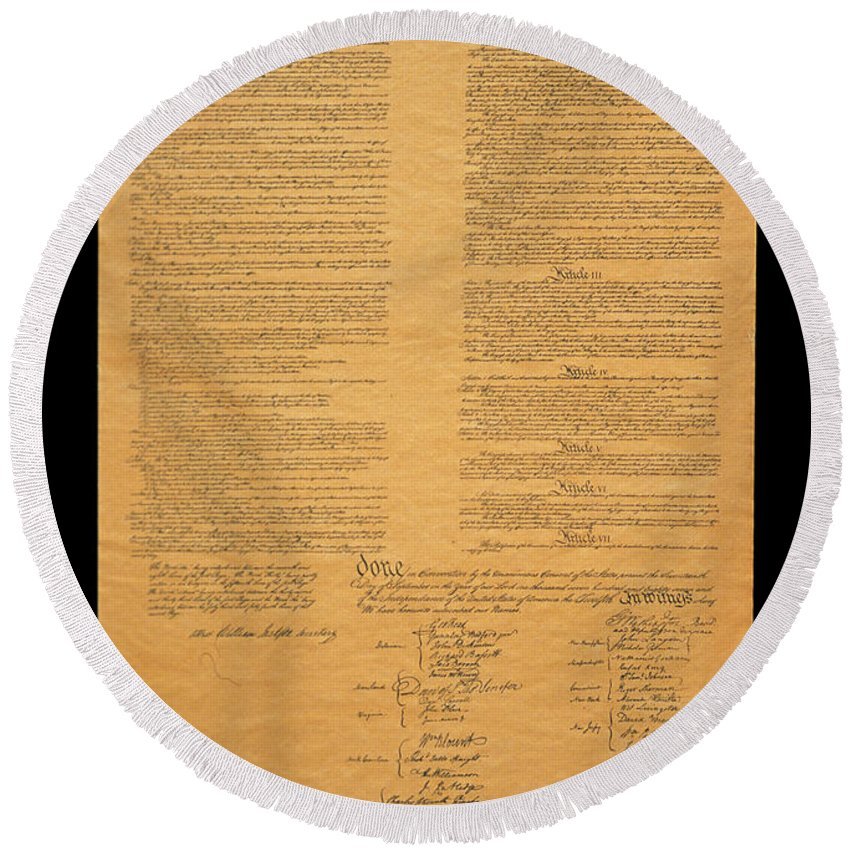 Us Constitution Photographs Round Beach Towels