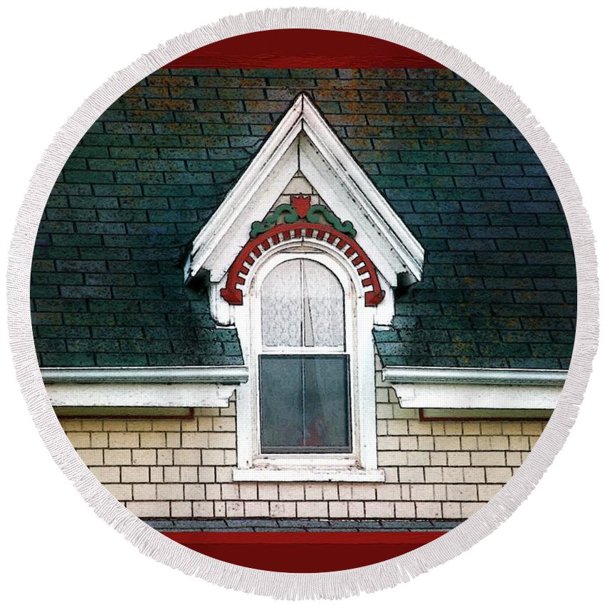 Canada Round Beach Towel featuring the painting The Ornamented Gable by RC DeWinter