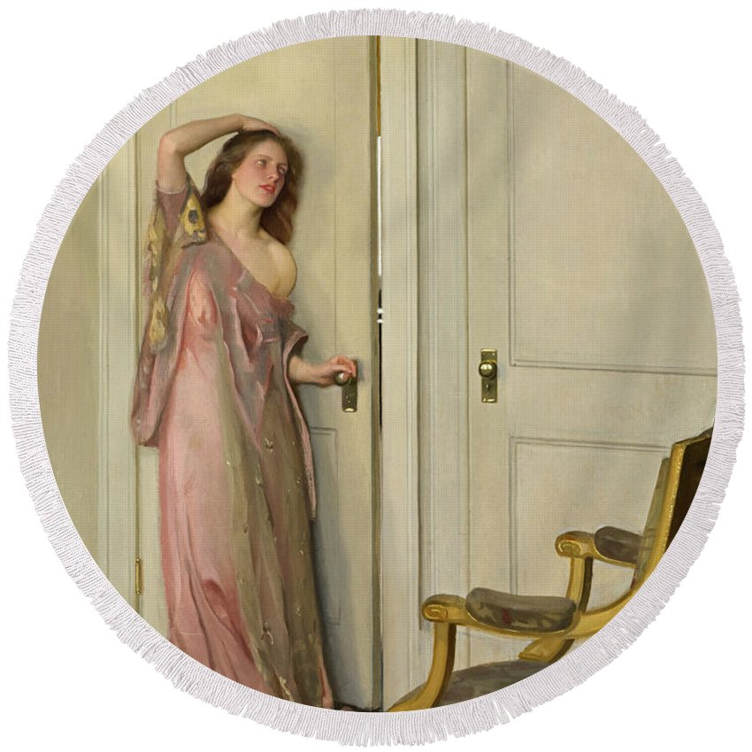 William Mcgregor Paxton Round Beach Towel featuring the painting The Other Door by William McGregor Paxton  sc 1 st  Fine Art America & The Other Door Round Beach Towel for Sale by William McGregor Paxton