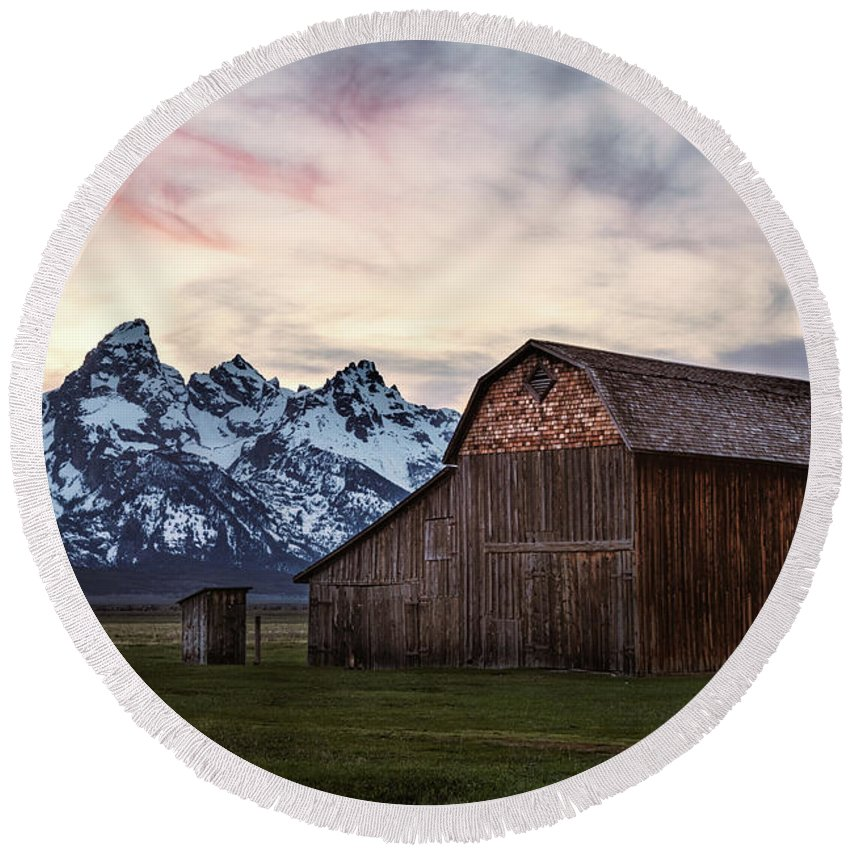 Clouds Round Beach Towel featuring the photograph The Other Moulton Barn by Laura Roberts
