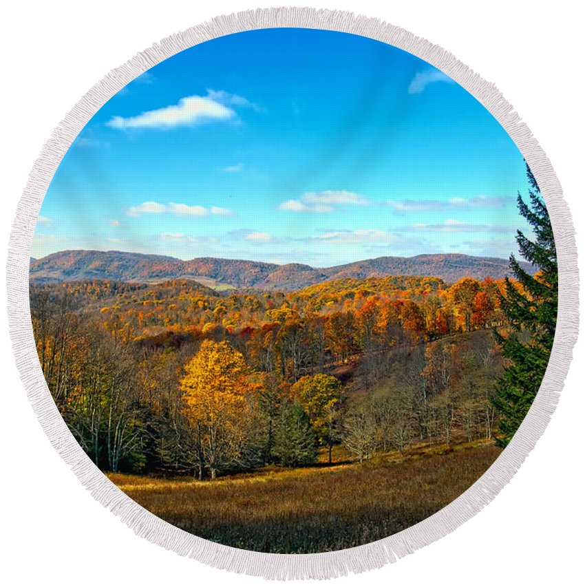 Mountains Round Beach Towel featuring the photograph The Other Side Of The Road In Wv by Kathleen K Parker