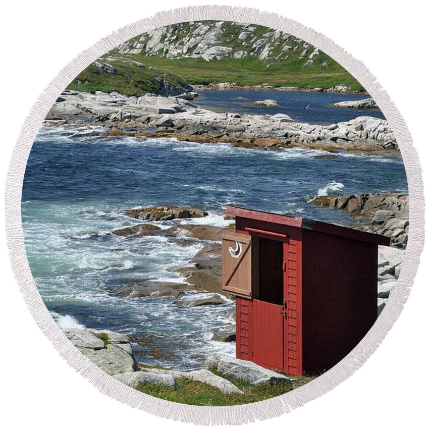 Outhouse Round Beach Towel featuring the photograph The Outhouse? by Colleen English