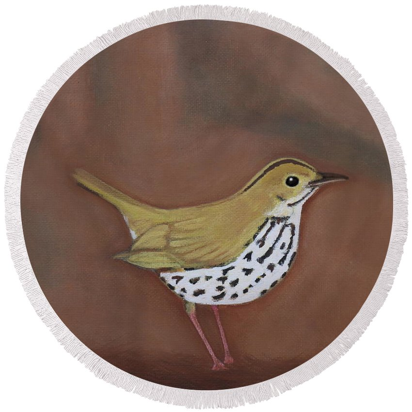 Ovenbird. Birds Round Beach Towel featuring the painting The Ovenbird by Roberto DeSouza