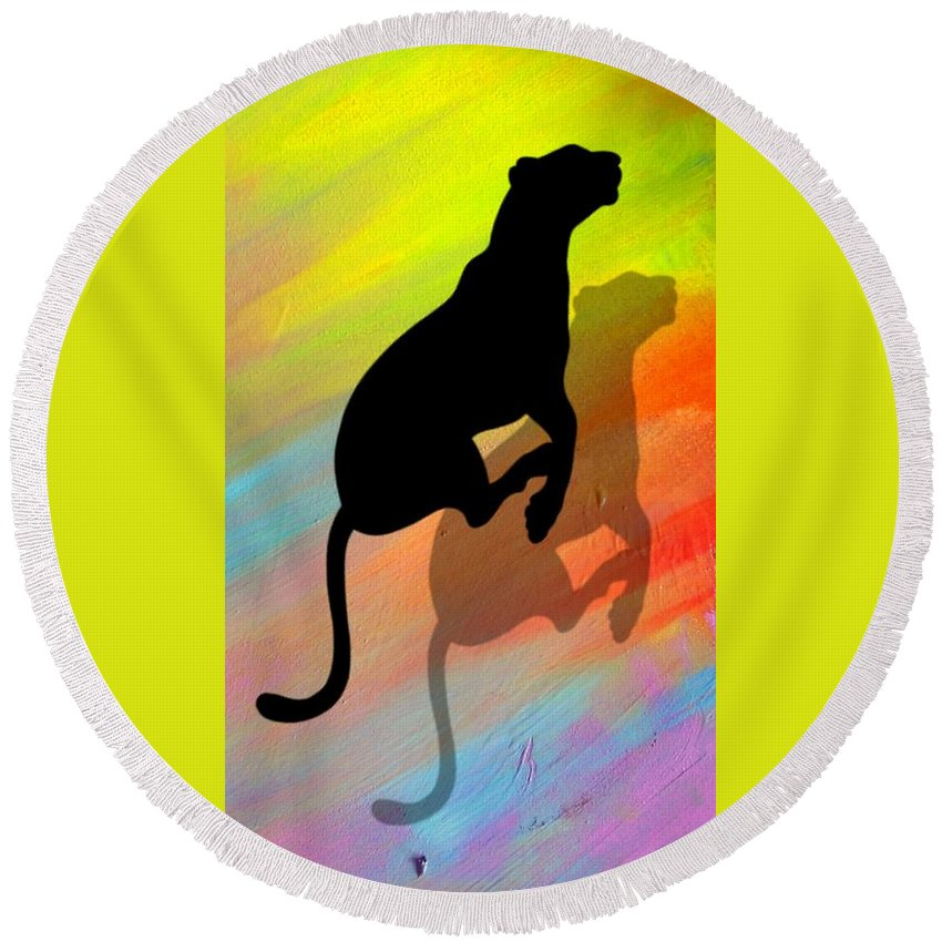 Animal Round Beach Towel featuring the painting The Pace by Romeo Kyeremateng