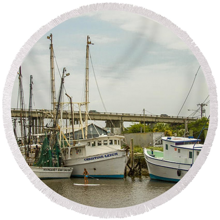 Reid Callaway The Paddler Round Beach Towel featuring the photograph The Paddler Tybee Island Shrimp Boats by Reid Callaway