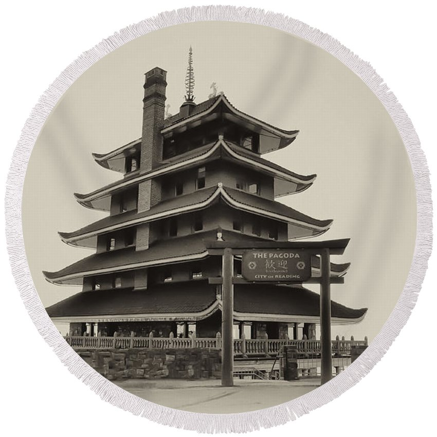 Pagoda Round Beach Towel featuring the photograph The Pagoda - Reading Pa. by Bill Cannon