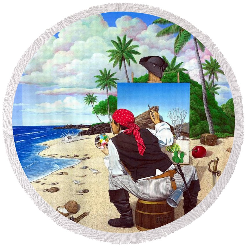Pirate Round Beach Towel featuring the painting The Painting Pirate by Snake Jagger