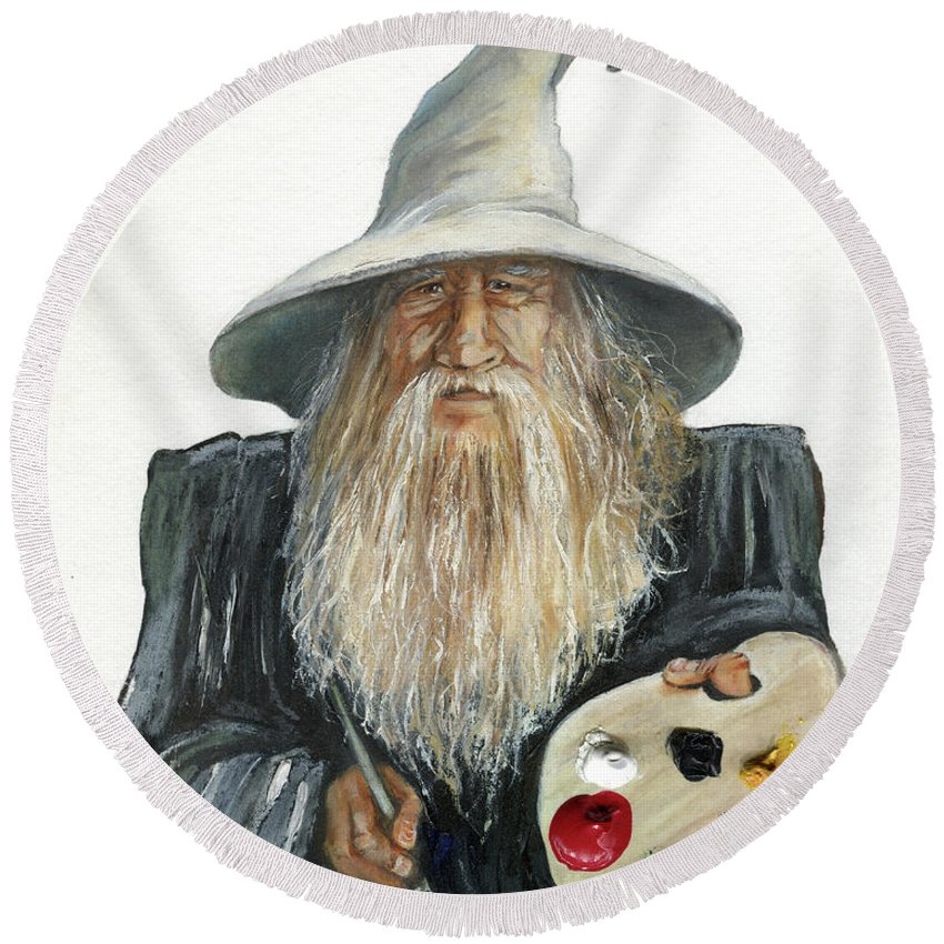 Wizard Round Beach Towel featuring the painting The Painting Wizard by J W Baker