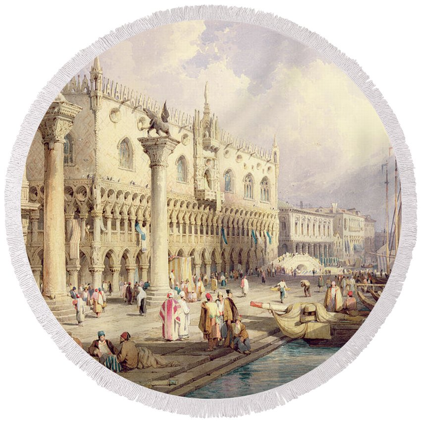 The Round Beach Towel featuring the painting The Palaces Of Venice by Samuel Prout
