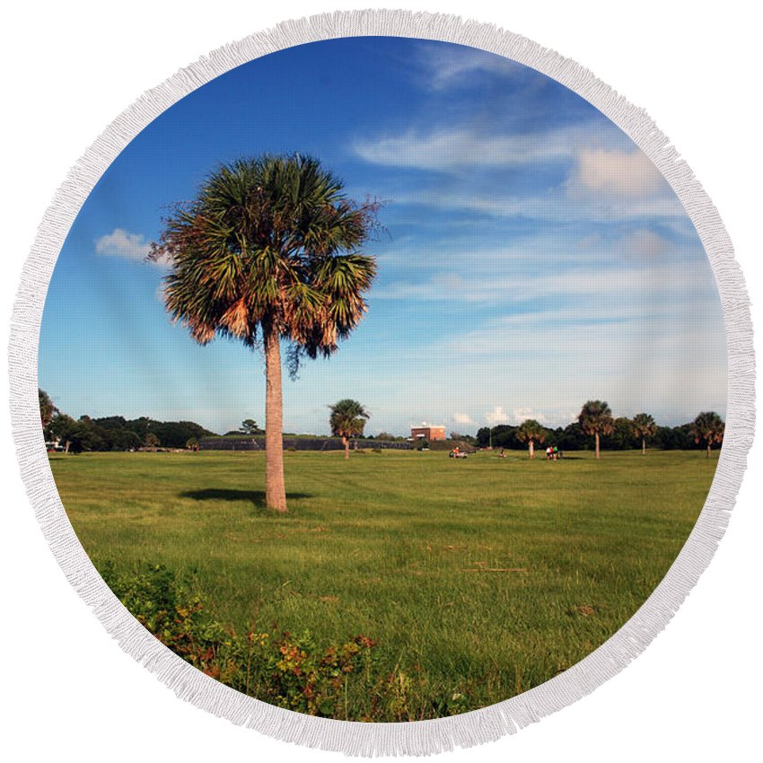 Photography Round Beach Towel featuring the photograph The Palmetto Tree by Susanne Van Hulst