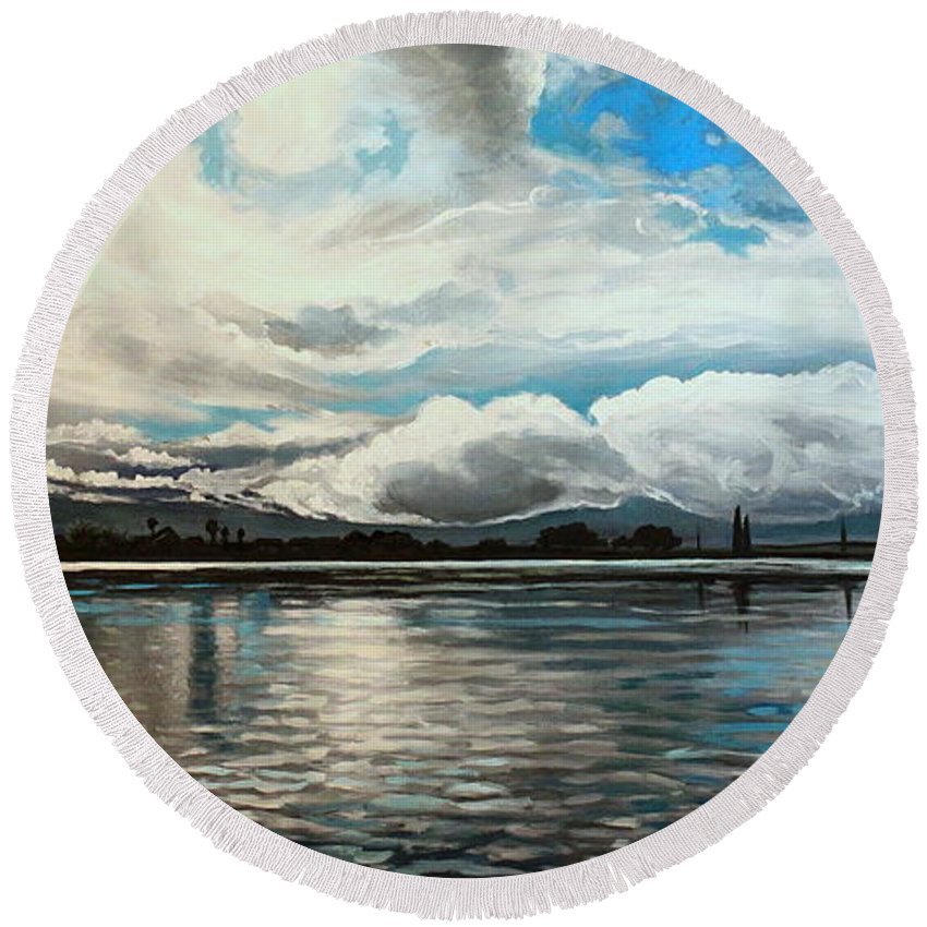 Landscape Round Beach Towel featuring the painting The Panoramic Painting by Elizabeth Robinette Tyndall