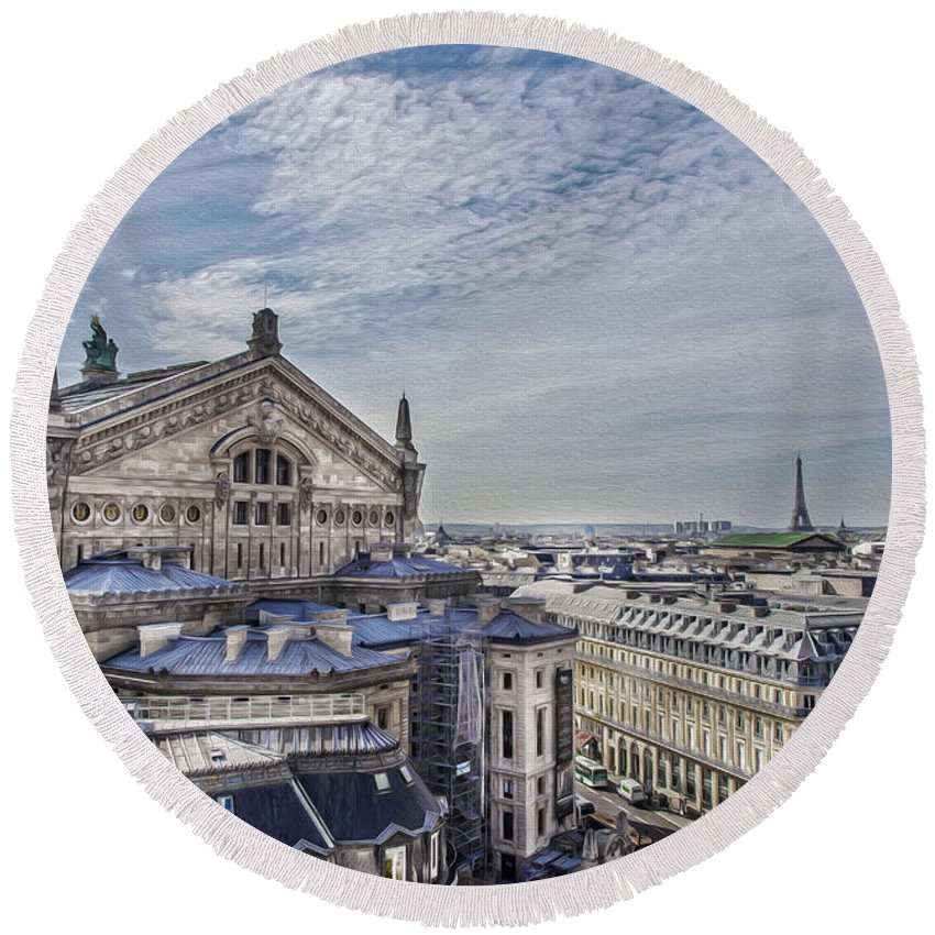 The Paris Opera Round Beach Towel featuring the photograph The Paris Opera 5 Art by Alex Art and Photo