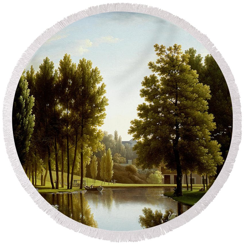 Jean-joseph-xavier Bidauld Round Beach Towel featuring the painting The Park At Mortefontaine by Jean-Joseph-Xavier Bidauld