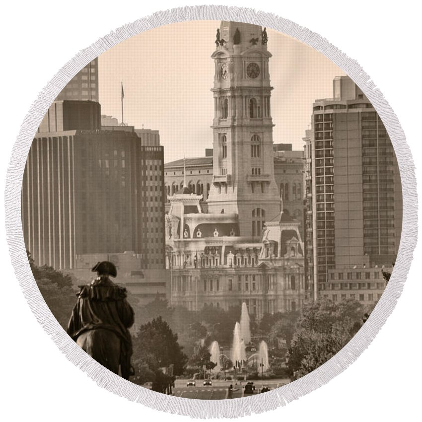 Benjamin Franklin Parkway Round Beach Towel featuring the photograph The Parkway In Sepia by Bill Cannon
