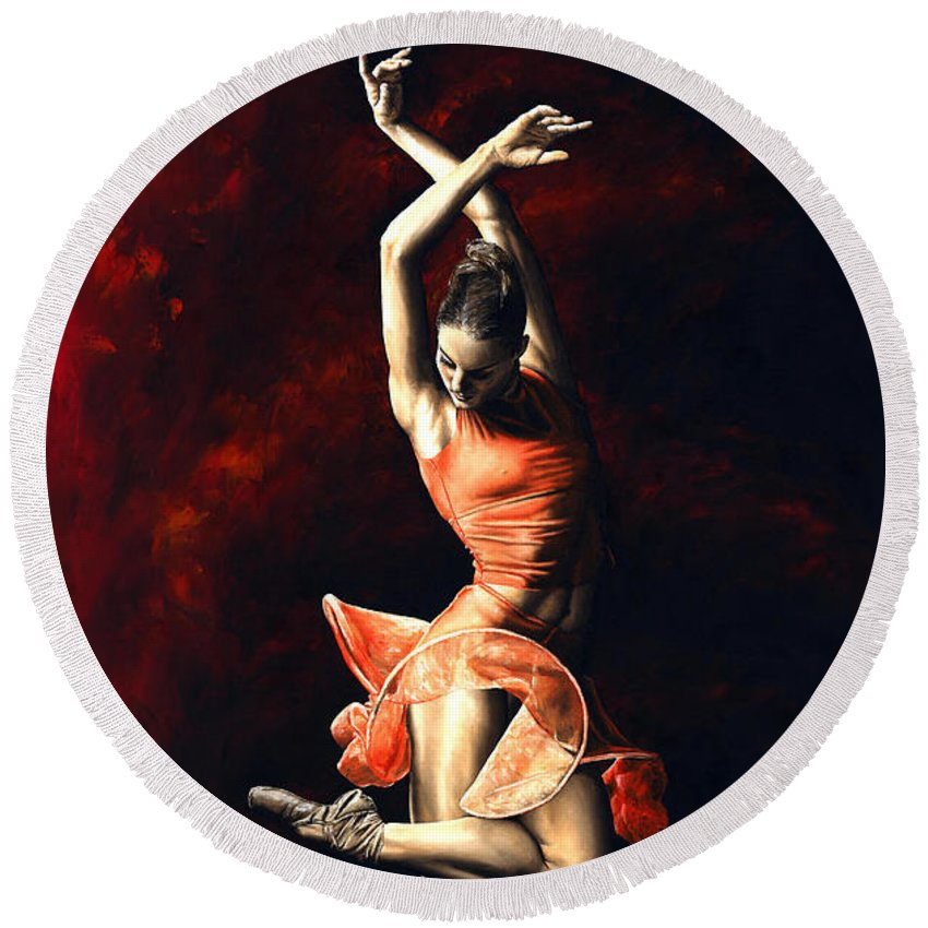 Dancer Round Beach Towel featuring the painting The Passion Of Dance by Richard Young