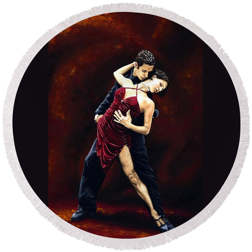 Tango Round Beach Towel featuring the painting The Passion of Tango by Richard Young