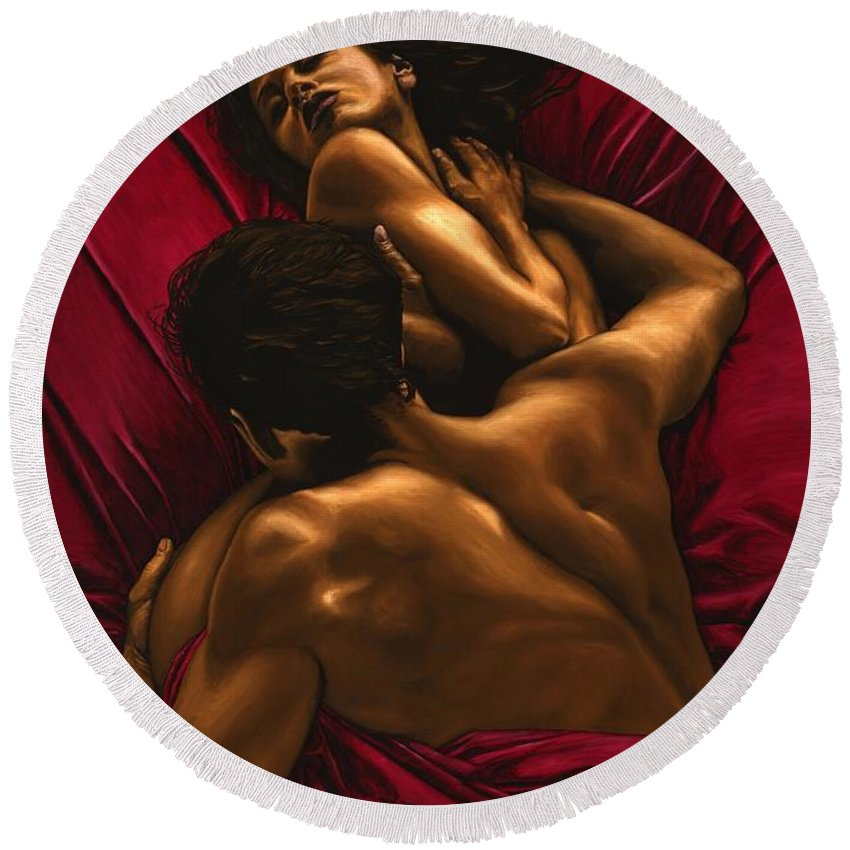 Nude Round Beach Towel featuring the painting The Passion by Richard Young