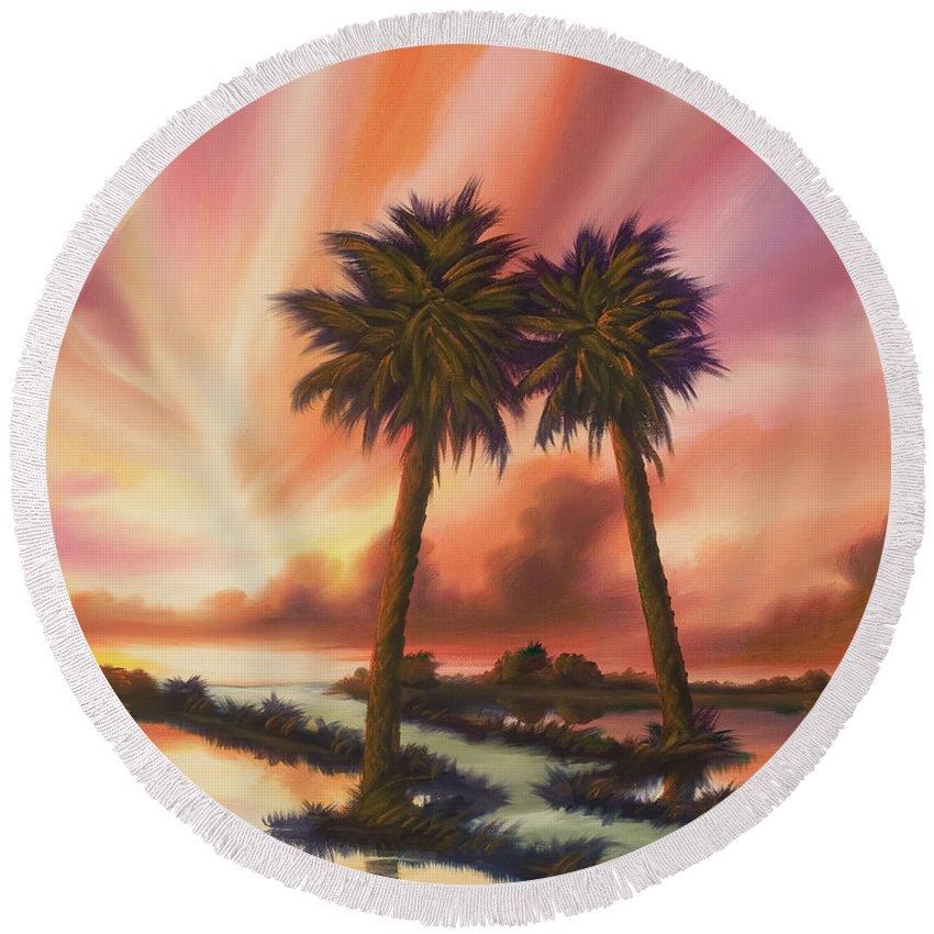 Skyscape Round Beach Towel featuring the painting The Path Ahead by James Christopher Hill