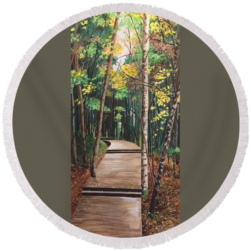 Landscape Round Beach Towel featuring the painting The Path by Bert De villiers
