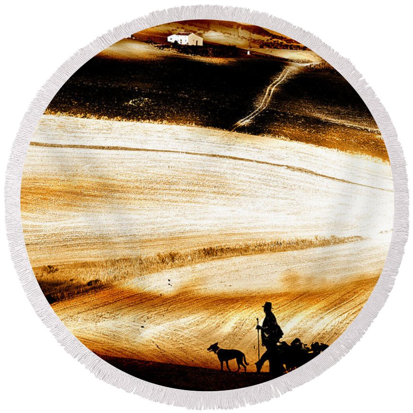 Landscape Round Beach Towel featuring the photograph The Path Home by Mal Bray