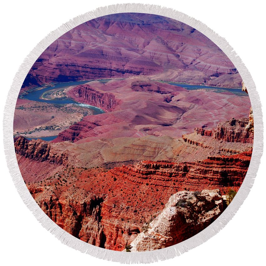 Grand Canyon Round Beach Towel featuring the photograph The Path Of The Colorado River by Susanne Van Hulst