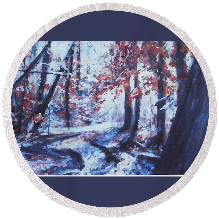 Landscape Round Beach Towel featuring the painting The Path by Sheila Holland
