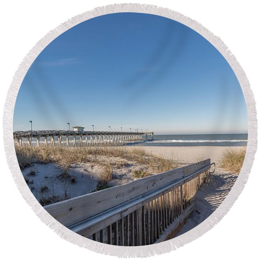 Beach Round Beach Towel featuring the photograph The Path To Relaxation by Joseph Toth