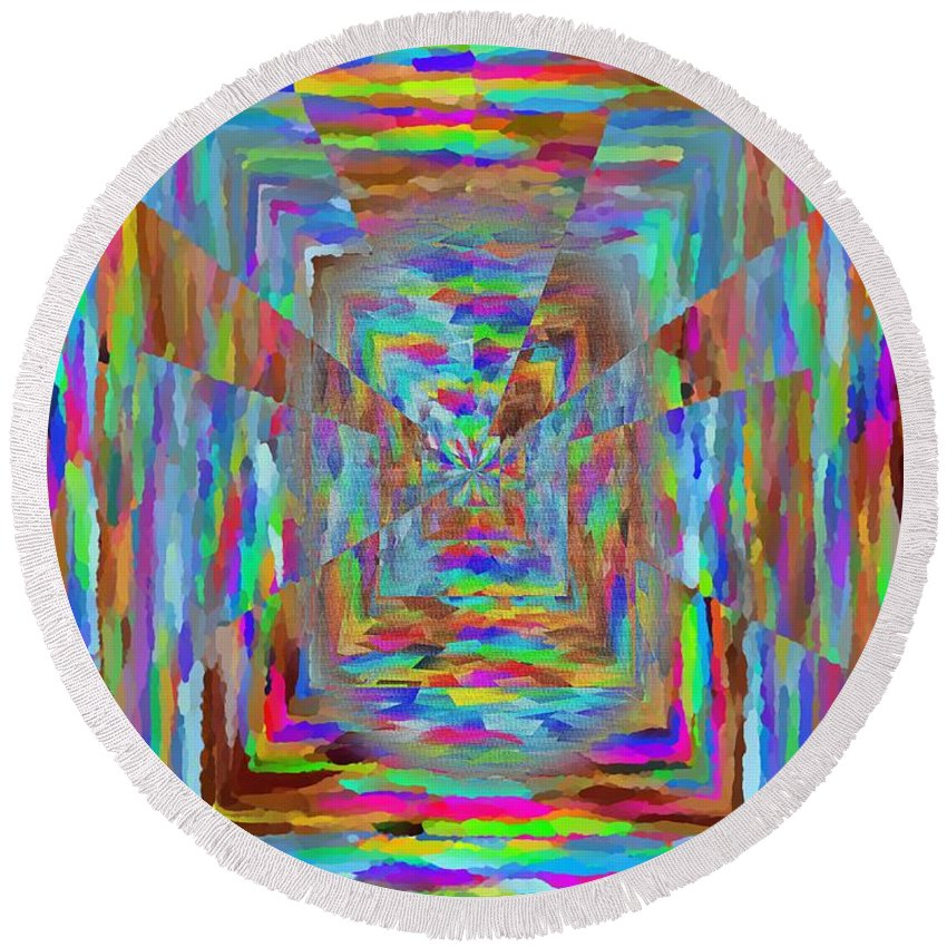 Abstract Round Beach Towel featuring the digital art The Pathway by Tim Allen