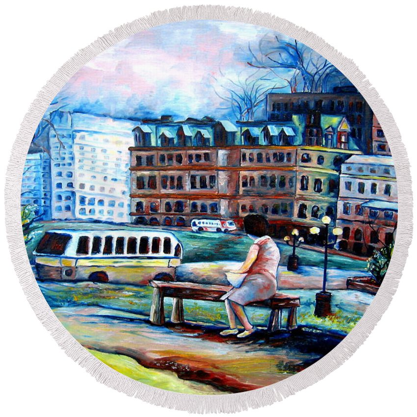 Ottawa Peace Tower City Scenes Round Beach Towel featuring the painting The Peace Tower In Ottawa by Carole Spandau