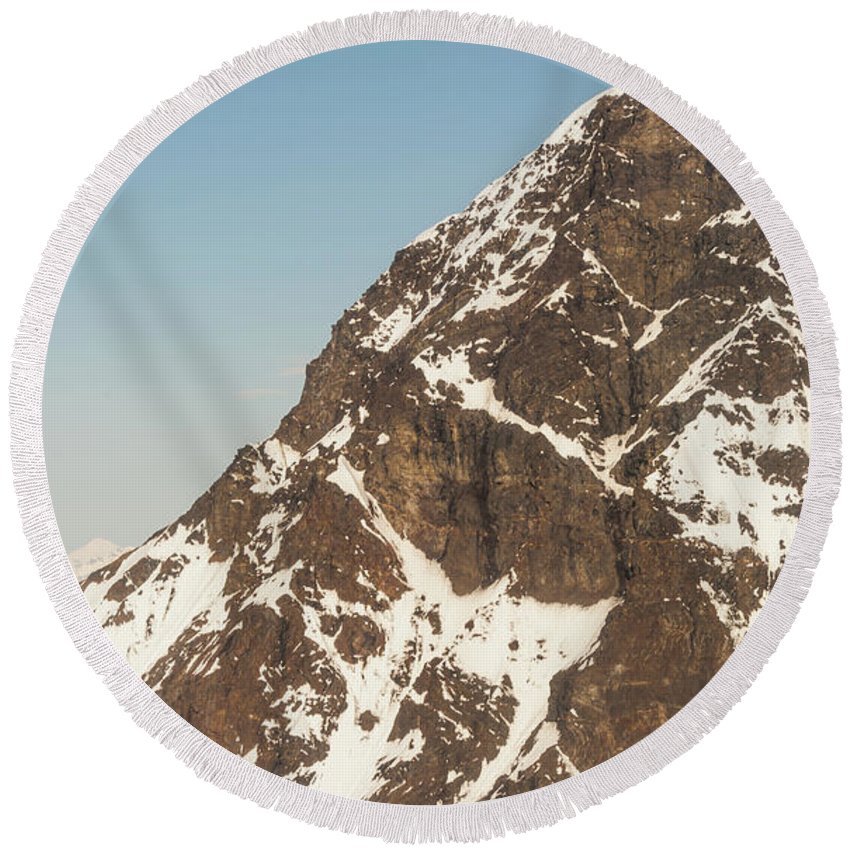 Alaska Round Beach Towel featuring the photograph The Summit Of Mount Denali 19,000 Feet by Charles McCleanon