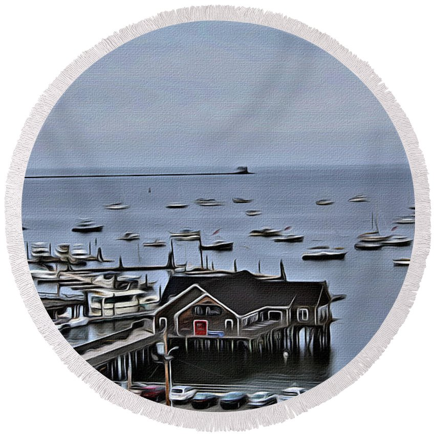 Pearl Round Beach Towel featuring the photograph The Pearl by Modern Art
