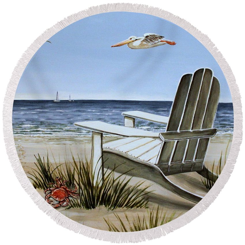 Landscape Round Beach Towel featuring the painting The Pelican by Elizabeth Robinette Tyndall