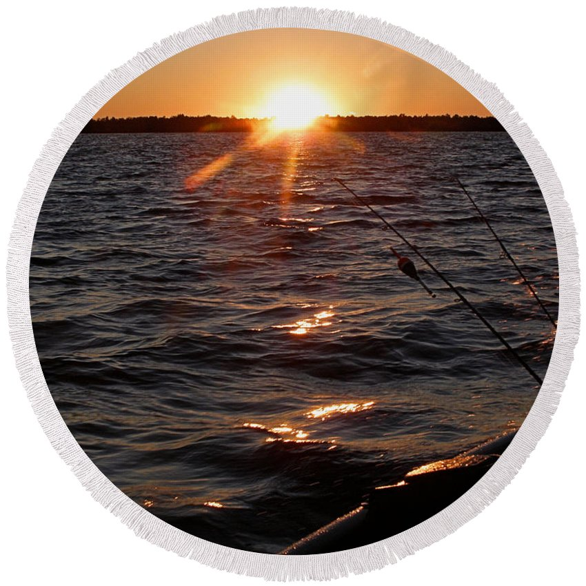 Sunset Round Beach Towel featuring the photograph The Perfect Ending - After A Good Day Of Fishing by Angie Rea