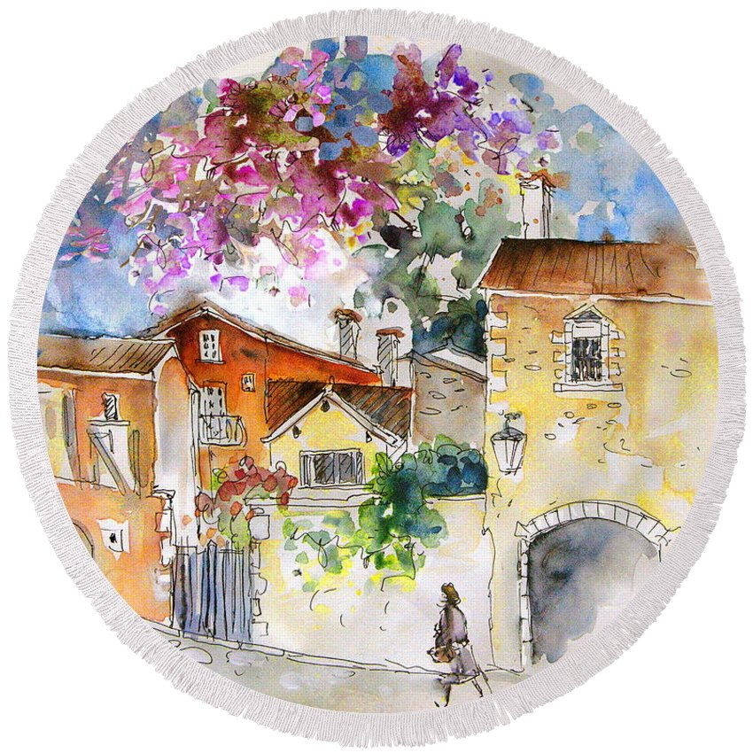 France Paintings Round Beach Towel featuring the painting The Perigord In France by Miki De Goodaboom