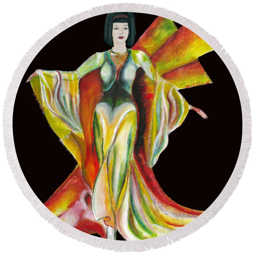 Dresses Round Beach Towel featuring the painting The Phoenix 2 by Tom Conway