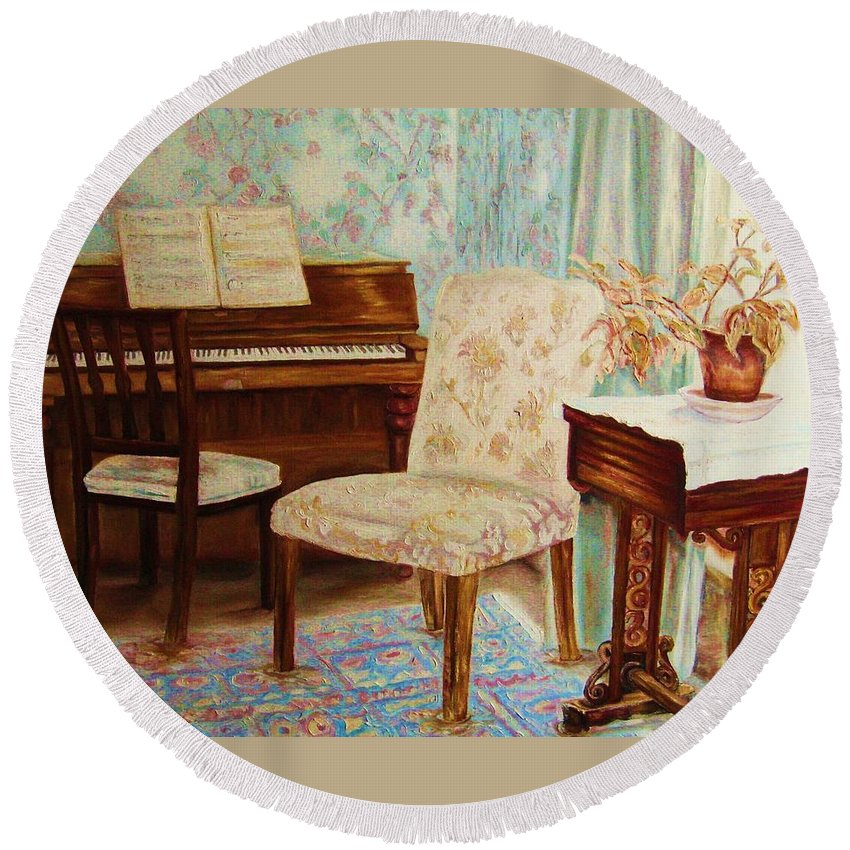 Iimpressionism Round Beach Towel featuring the painting The Piano Room by Carole Spandau