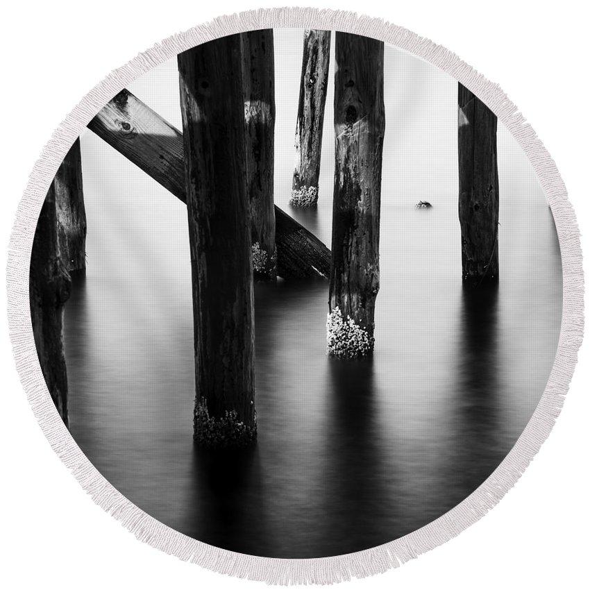 Water Round Beach Towel featuring the photograph The Pier 3 by Gunnar Orn Arnason