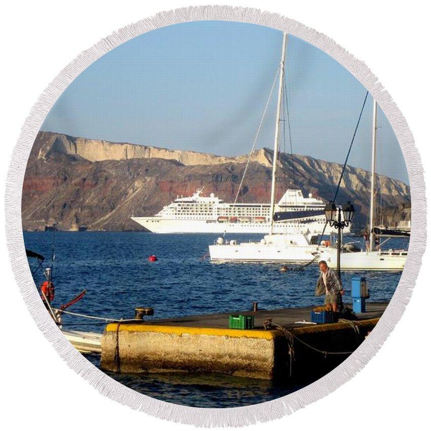 Santorini Round Beach Towel featuring the photograph The Pier by Karen Norton
