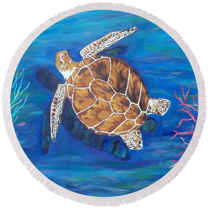 Sea Turtle Round Beach Towel featuring the painting The Pilgrim by Amy Pugh
